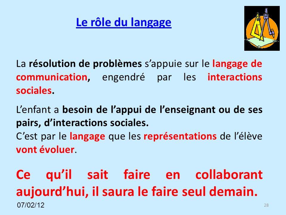Le rôle du langage 28 La résolution de problèmes sappuie sur le langage de communication, engendré par les interactions sociales.