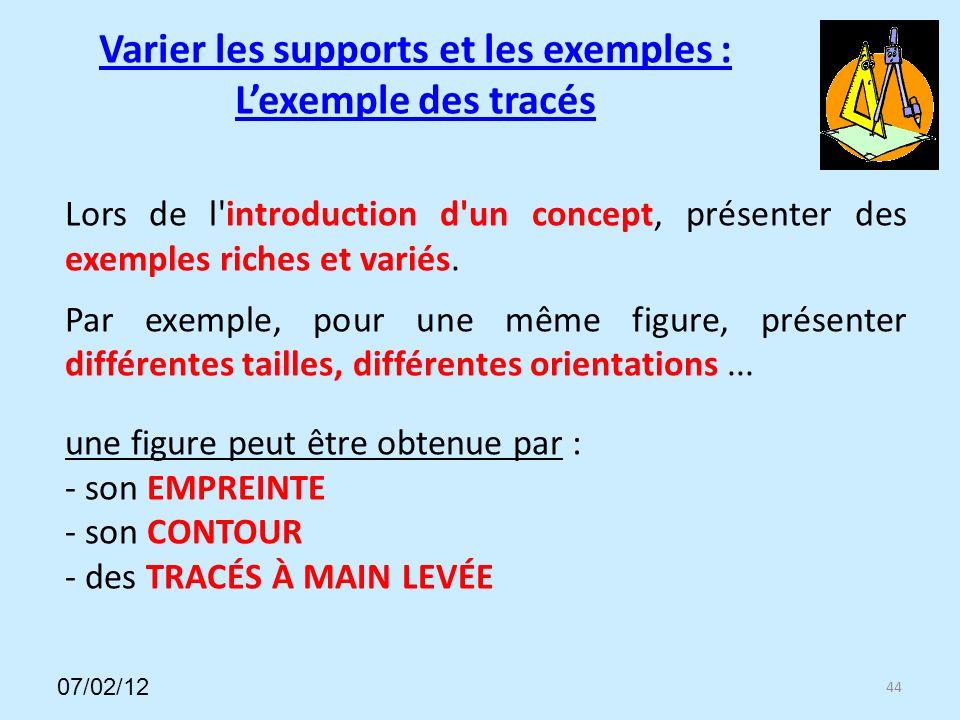 Varier les supports et les exemples : Lexemple des tracés 44 Lors de l introduction d un concept, présenter des exemples riches et variés.