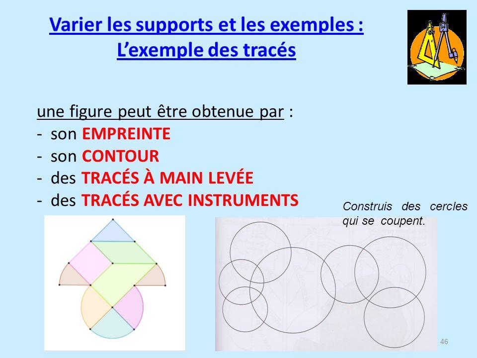 46 une figure peut être obtenue par : - son EMPREINTE - son CONTOUR - des TRACÉS À MAIN LEVÉE - des TRACÉS AVEC INSTRUMENTS Construis des cercles qui se coupent.
