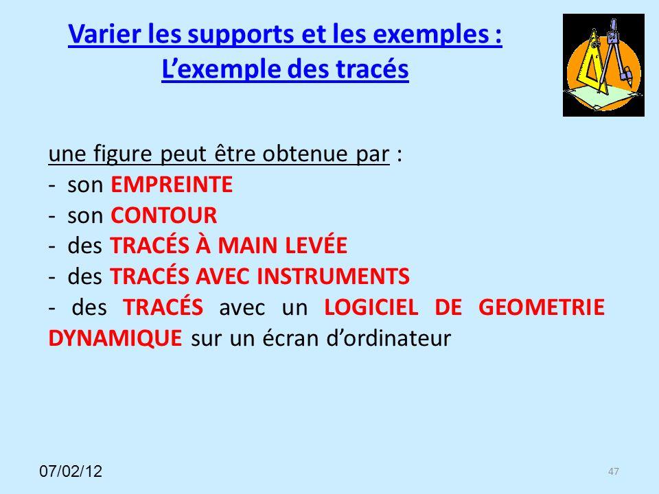 47 une figure peut être obtenue par : - son EMPREINTE - son CONTOUR - des TRACÉS À MAIN LEVÉE - des TRACÉS AVEC INSTRUMENTS - des TRACÉS avec un LOGICIEL DE GEOMETRIE DYNAMIQUE sur un écran dordinateur Varier les supports et les exemples : Lexemple des tracés 07/02/12