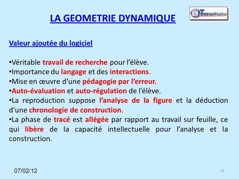 49 LA GEOMETRIE DYNAMIQUE Valeur ajoutée du logiciel Véritable travail de recherche pour lélève.