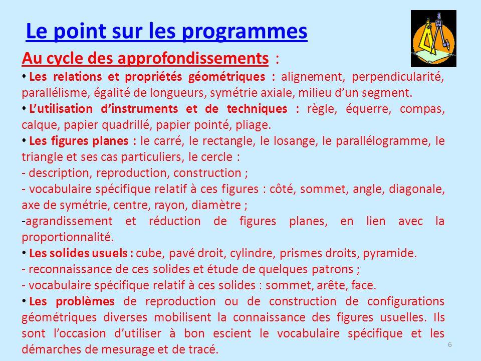 Le point sur les programmes Au cycle des approfondissements : Les relations et propriétés géométriques : alignement, perpendicularité, parallélisme, égalité de longueurs, symétrie axiale, milieu dun segment.