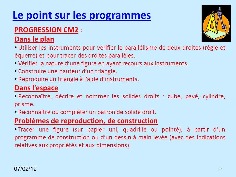 Le point sur les programmes PROGRESSION CM2 : Dans le plan Utiliser les instruments pour vérifier le parallélisme de deux droites (règle et équerre) et pour tracer des droites parallèles.