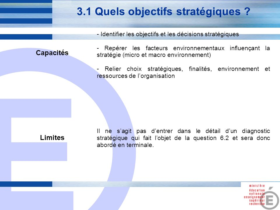 E 10 3.1 Quels objectifs stratégiques ? Capacités - Identifier les objectifs et les décisions stratégiques - Repérer les facteurs environnementaux inf