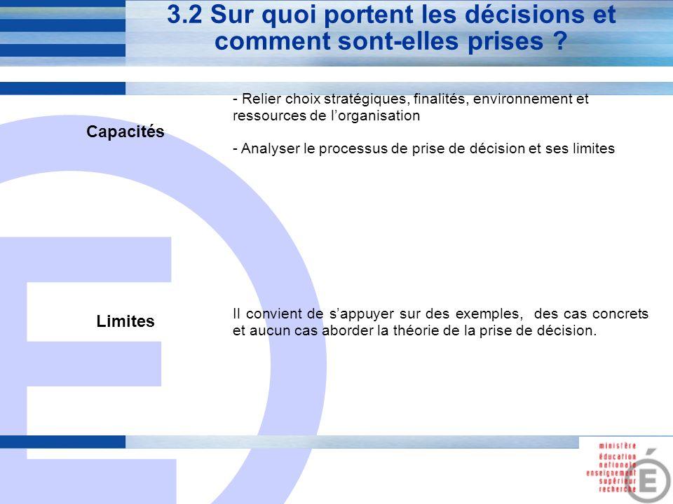 E 11 3.2 Sur quoi portent les décisions et comment sont-elles prises ? Capacités - Relier choix stratégiques, finalités, environnement et ressources d