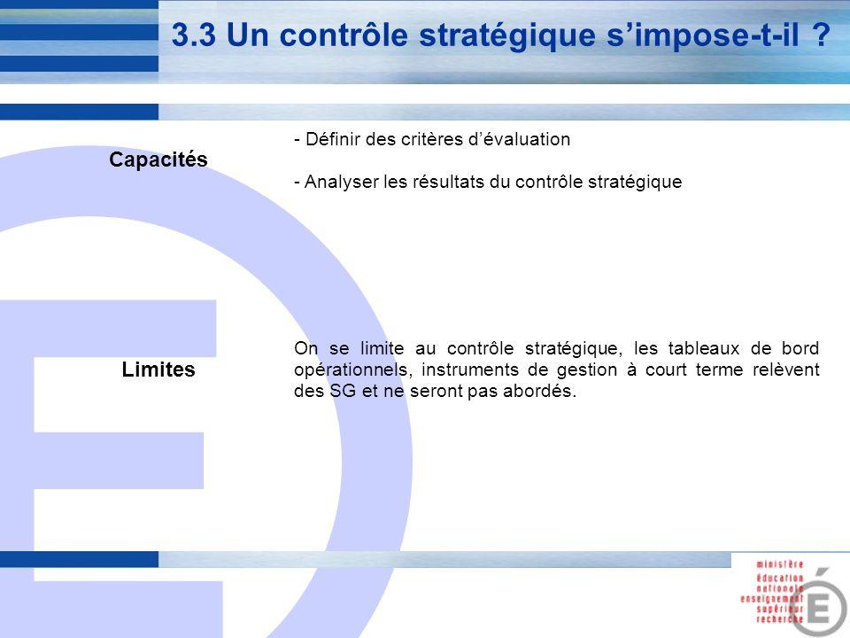 E 12 3.3 Un contrôle stratégique simpose-t-il ? Capacités - Définir des critères dévaluation - Analyser les résultats du contrôle stratégique Limites