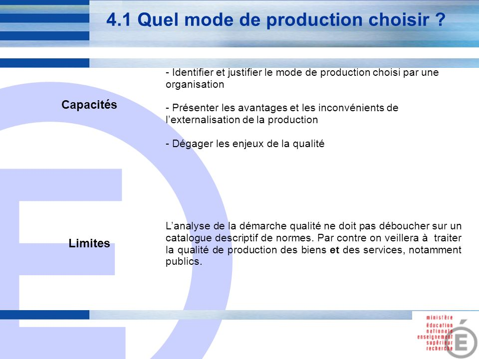 E 15 4.1 Quel mode de production choisir .