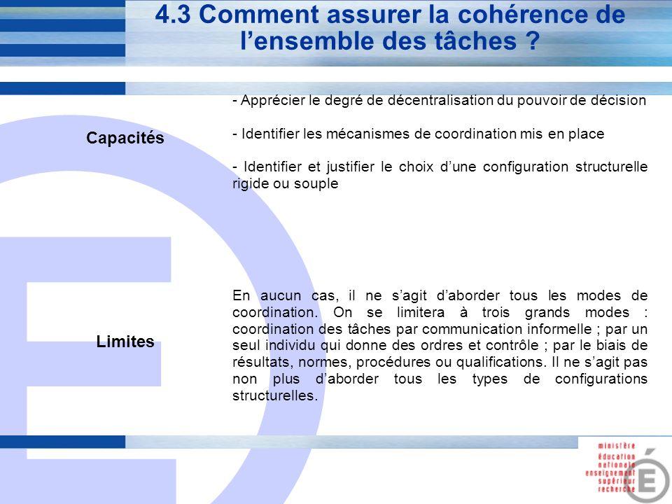 E 17 4.3 Comment assurer la cohérence de lensemble des tâches ? Capacités - Apprécier le degré de décentralisation du pouvoir de décision - Identifier