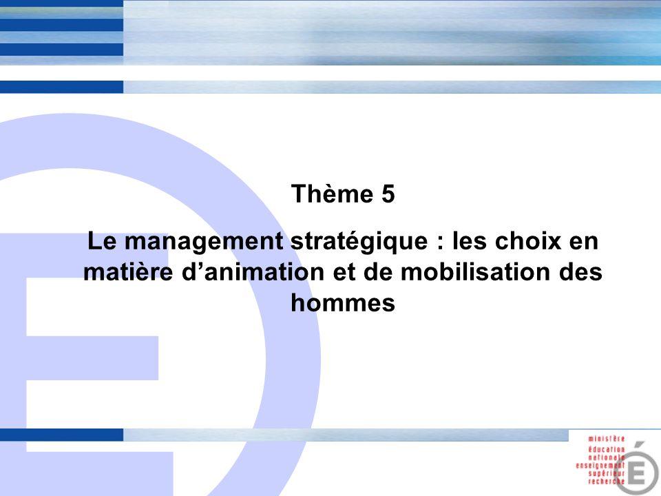 E 18 Thème 5 Le management stratégique : les choix en matière danimation et de mobilisation des hommes