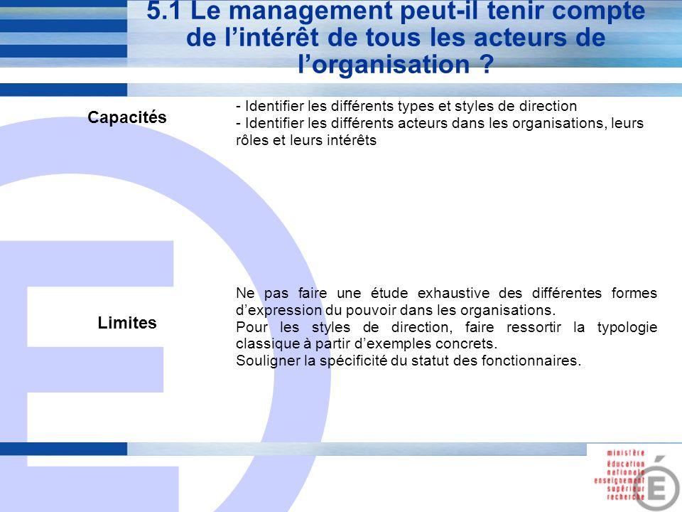 E 19 5.1 Le management peut-il tenir compte de lintérêt de tous les acteurs de lorganisation ? Capacités - Identifier les différents types et styles d