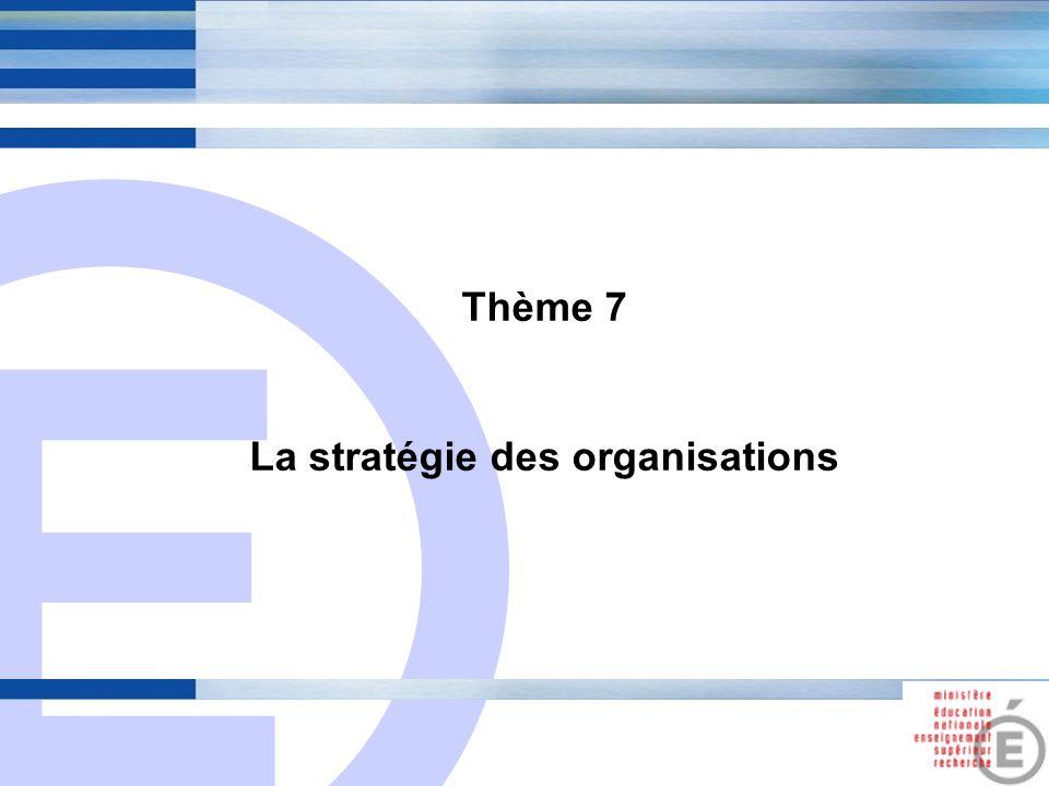 E 25 Thème 7 La stratégie des organisations