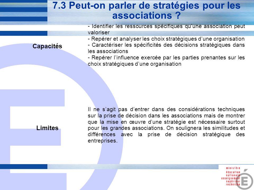 E 28 7.3 Peut-on parler de stratégies pour les associations ? Capacités - Identifier les ressources spécifiques quune association peut valoriser - Rep