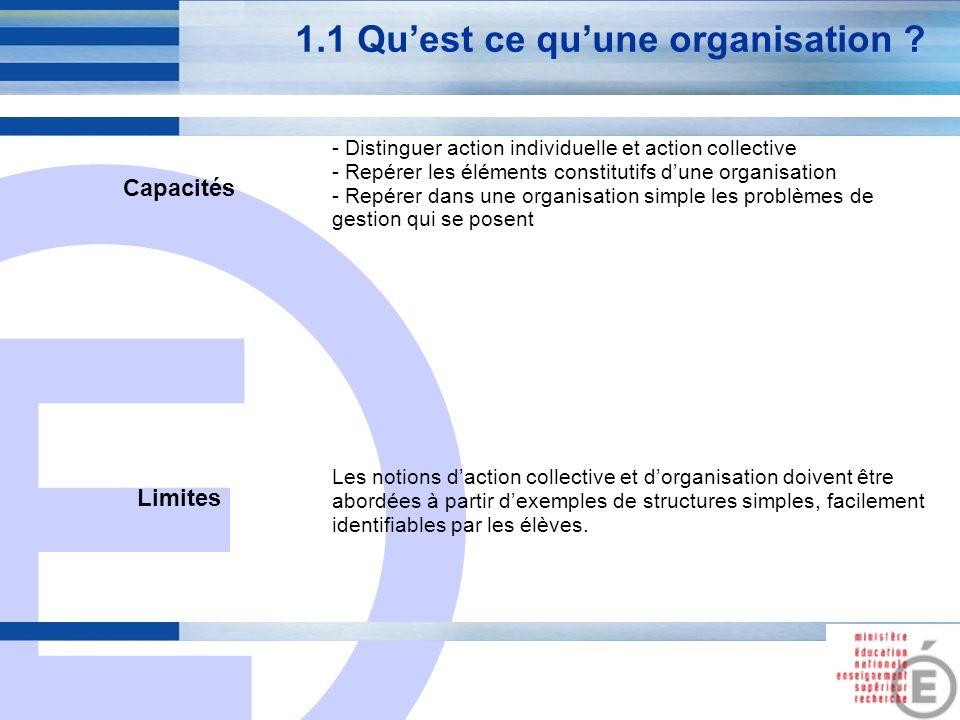 E 3 1.1 Quest ce quune organisation ? Capacités - Distinguer action individuelle et action collective - Repérer les éléments constitutifs dune organis