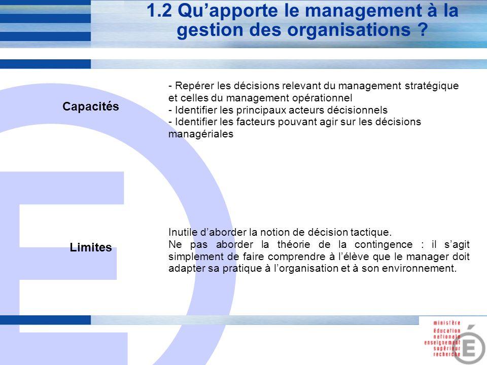 E 4 1.2 Quapporte le management à la gestion des organisations ? Capacités - Repérer les décisions relevant du management stratégique et celles du man