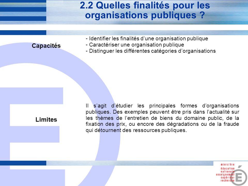 E 7 2.2 Quelles finalités pour les organisations publiques ? Capacités - Identifier les finalités dune organisation publique - Caractériser une organi