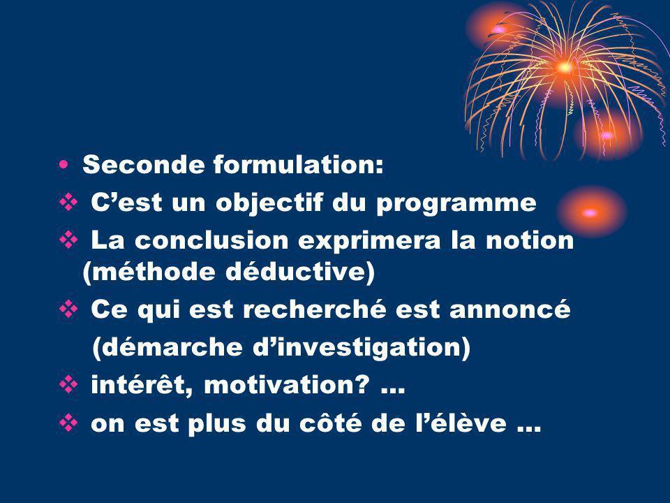 Seconde formulation: Cest un objectif du programme La conclusion exprimera la notion (méthode déductive) Ce qui est recherché est annoncé (démarche dinvestigation) intérêt, motivation.