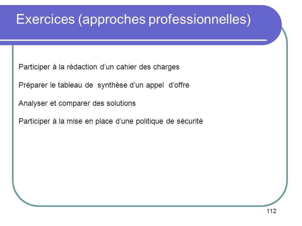 112 Exercices (approches professionnelles) Participer à la rédaction dun cahier des charges Préparer le tableau de synthèse dun appel doffre Analyser