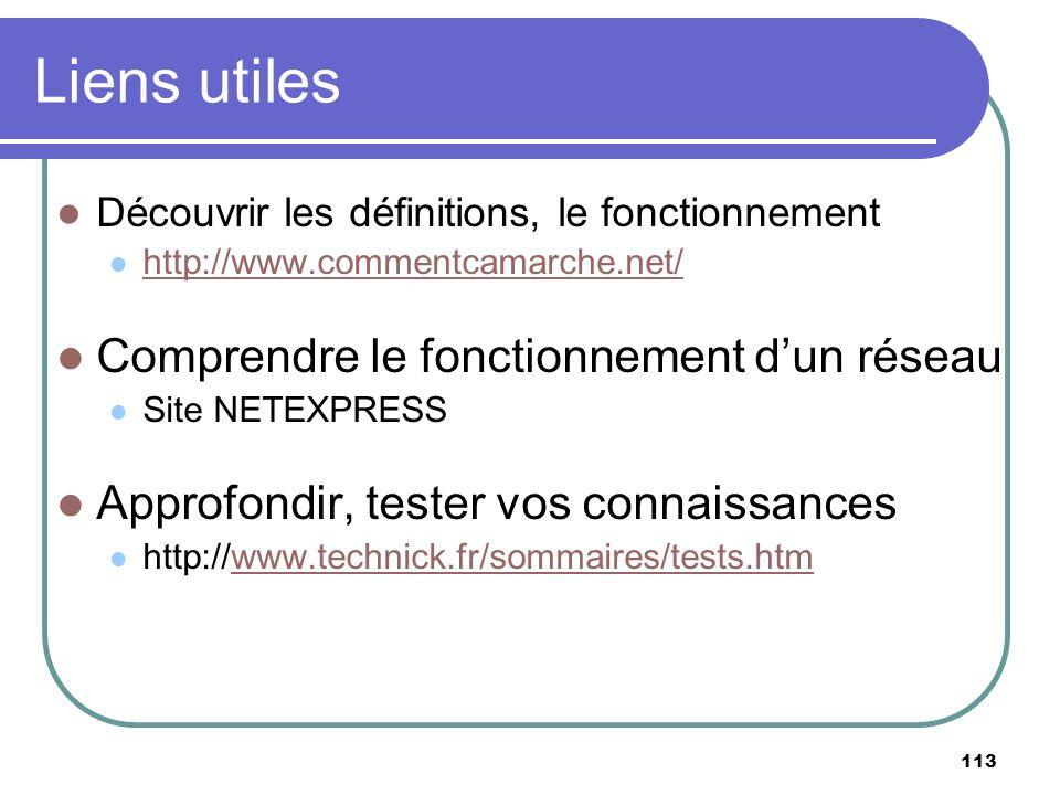113 Liens utiles Découvrir les définitions, le fonctionnement http://www.commentcamarche.net/ Comprendre le fonctionnement dun réseau Site NETEXPRESS