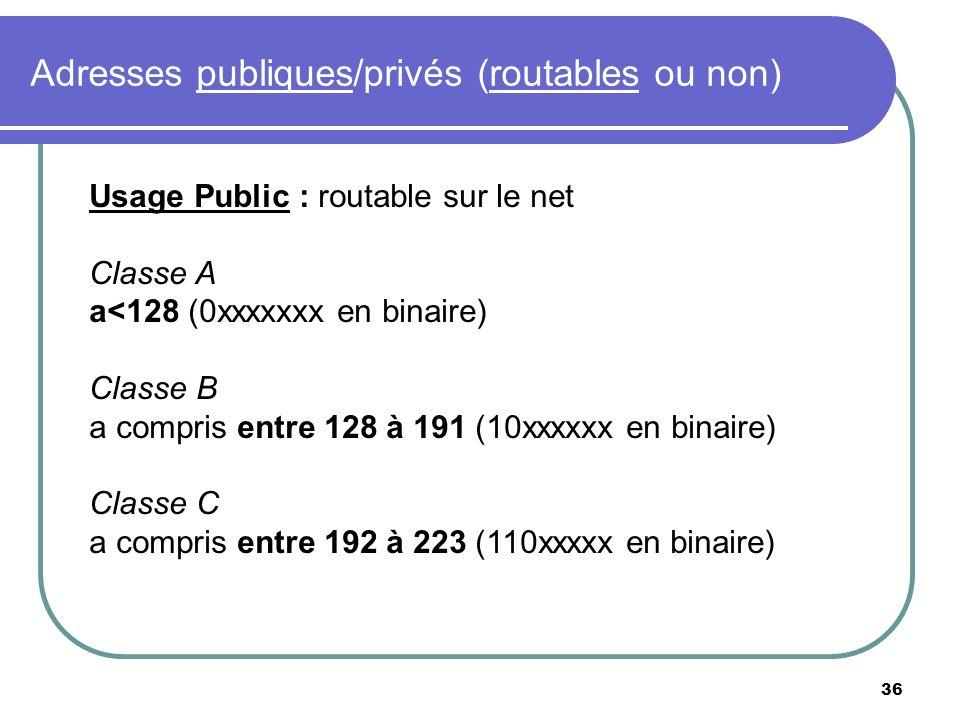 Adresses publiques/privés (routables ou non) 36 Usage Public : routable sur le net Classe A a<128 (0xxxxxxx en binaire) Classe B a compris entre 128 à