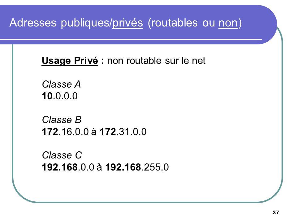 Adresses publiques/privés (routables ou non) 37 Usage Privé : non routable sur le net Classe A 10.0.0.0 Classe B 172.16.0.0 à 172.31.0.0 Classe C 192.