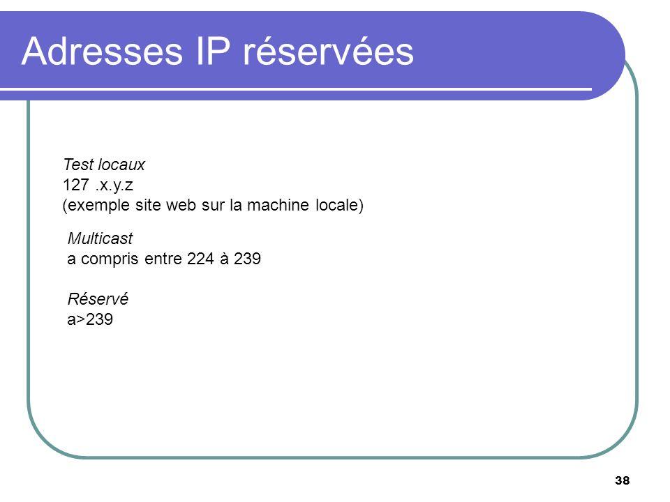 Adresses IP réservées 38 Test locaux 127.x.y.z (exemple site web sur la machine locale) Multicast a compris entre 224 à 239 Réservé a>239