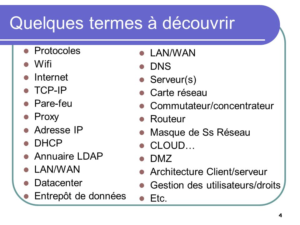 4 Quelques termes à découvrir Protocoles Wifi Internet TCP-IP Pare-feu Proxy Adresse IP DHCP Annuaire LDAP LAN/WAN Datacenter Entrepôt de données LAN/