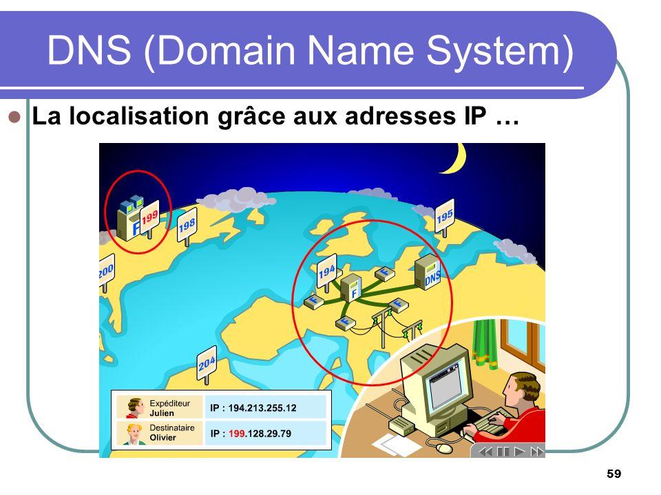 59 La localisation grâce aux adresses IP … DNS (Domain Name System)