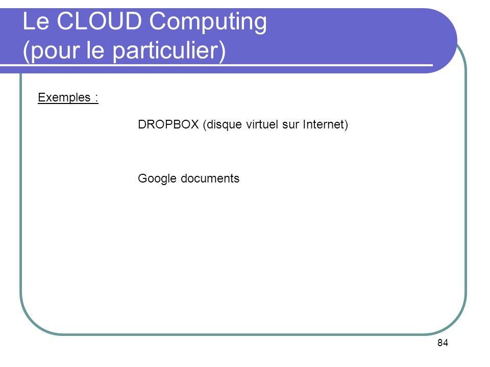 84 Le CLOUD Computing (pour le particulier) DROPBOX (disque virtuel sur Internet) Google documents Exemples :
