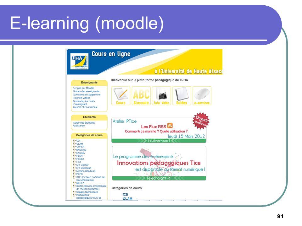 E-learning (moodle) 91