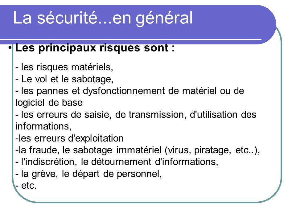 La sécurité...en général - les risques matériels, - Le vol et le sabotage, - les pannes et dysfonctionnement de matériel ou de logiciel de base - les