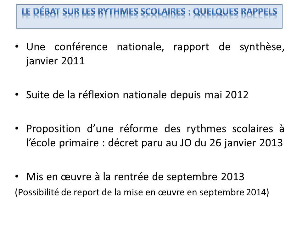 Une conférence nationale, rapport de synthèse, janvier 2011 Suite de la réflexion nationale depuis mai 2012 Proposition dune réforme des rythmes scola