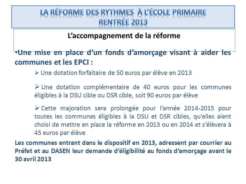 Laccompagnement de la réforme Une mise en place dun fonds damorçage visant à aider les communes et les EPCI : Une dotation forfaitaire de 50 euros par
