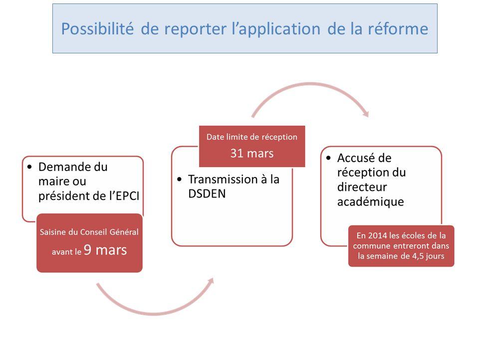 Possibilité de reporter lapplication de la réforme