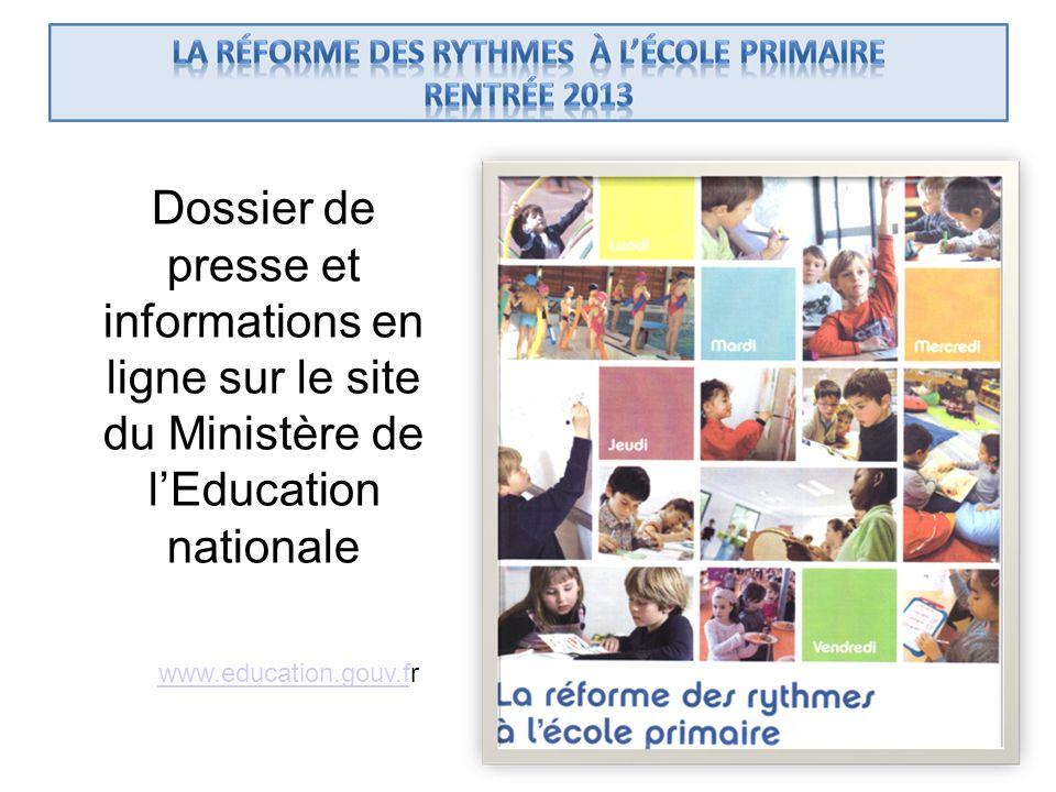 Dossier de presse et informations en ligne sur le site du Ministère de lEducation nationale www.education.gouv.fwww.education.gouv.fr