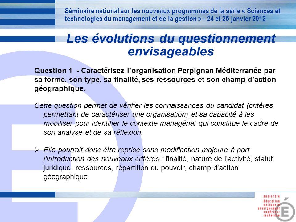 E 14 Les évolutions du questionnement envisageables Question 1 - Caractérisez lorganisation Perpignan Méditerranée par sa forme, son type, sa finalité, ses ressources et son champ daction géographique.