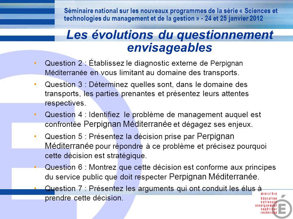 E 16 Question 2 : Établissez le diagnostic externe de Perpignan Méditerranée en vous limitant au domaine des transports. Question 3 : Déterminez quell
