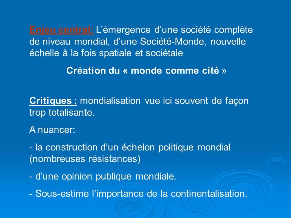 Enjeu central: Lémergence dune société complète de niveau mondial, dune Société-Monde, nouvelle échelle à la fois spatiale et sociétale Création du «