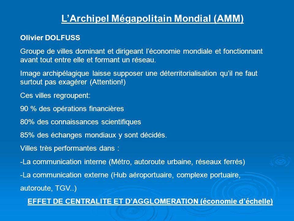 LArchipel Mégapolitain Mondial (AMM) Olivier DOLFUSS Groupe de villes dominant et dirigeant léconomie mondiale et fonctionnant avant tout entre elle et formant un réseau.