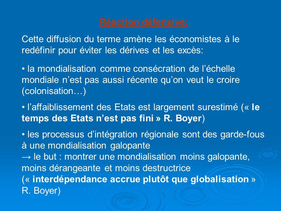Réaction défensive: Cette diffusion du terme amène les économistes à le redéfinir pour éviter les dérives et les excès: la mondialisation comme conséc