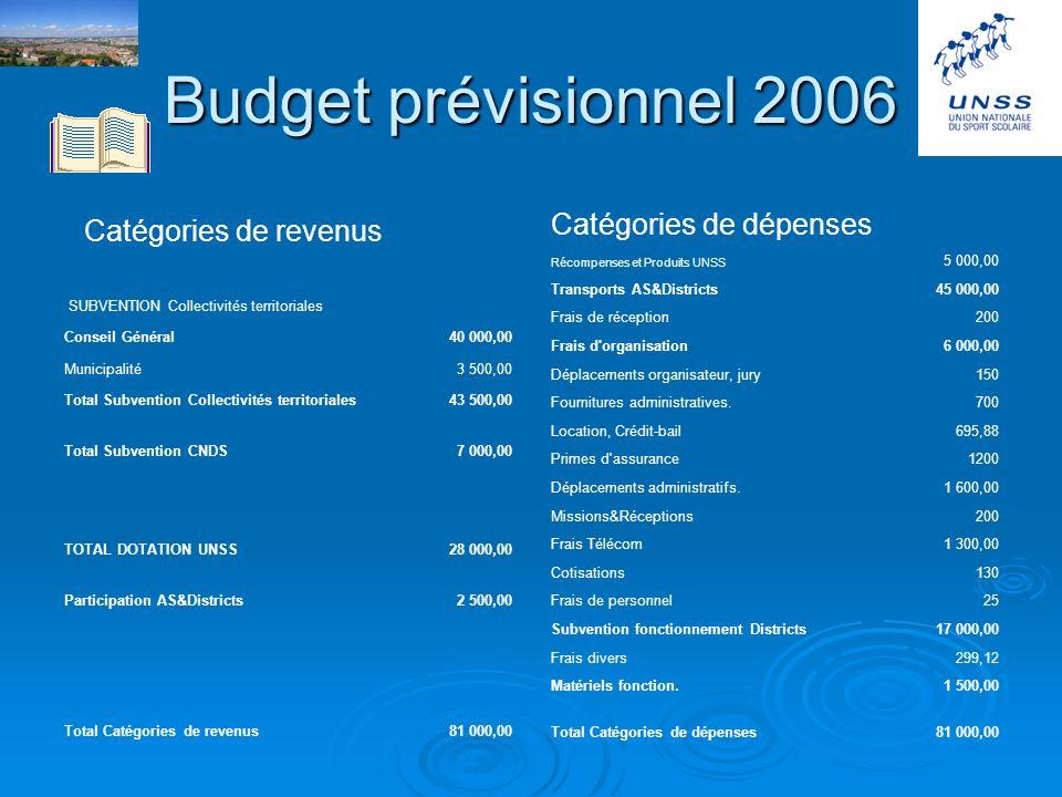 Budget 2005 Catégories de revenus Conseil Général 40 202,06 Municipalité 3 500,00 Total 7471 Subvention Collectivités territoriales43 702,06 FNDS 7 00