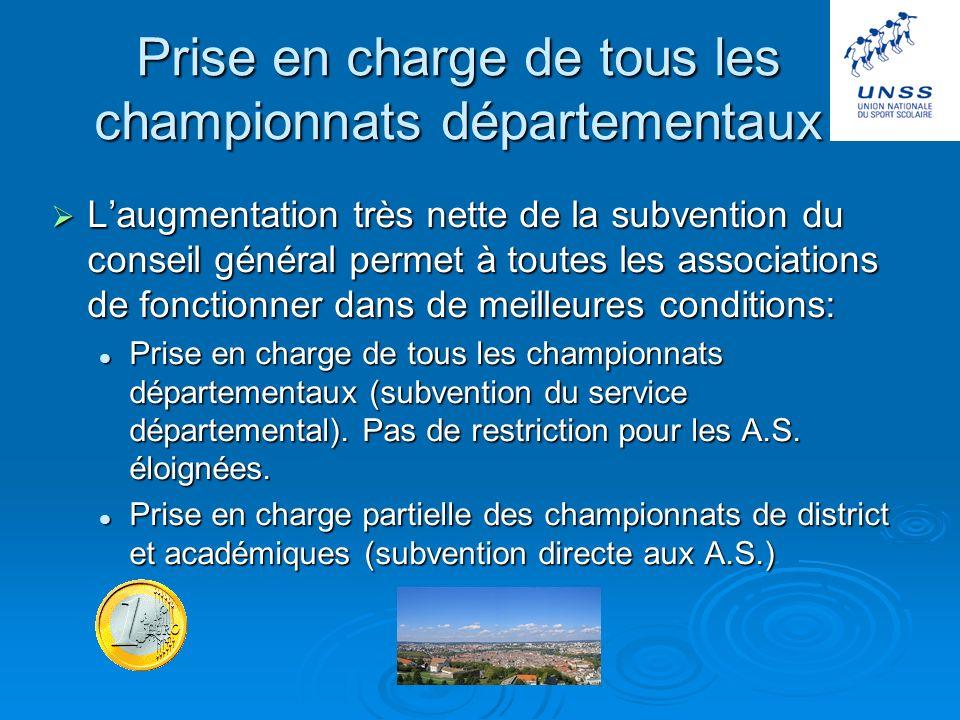 Les actions 2005 / 2006 Prise en charge de tous les championnats départementaux Prise en charge de tous les championnats départementaux Création du si