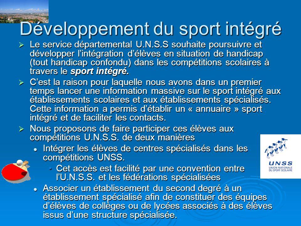 ou la participation d'équipes mixtes composées d'élèves valides et délèves en situation de handicap à des épreuves sportives.