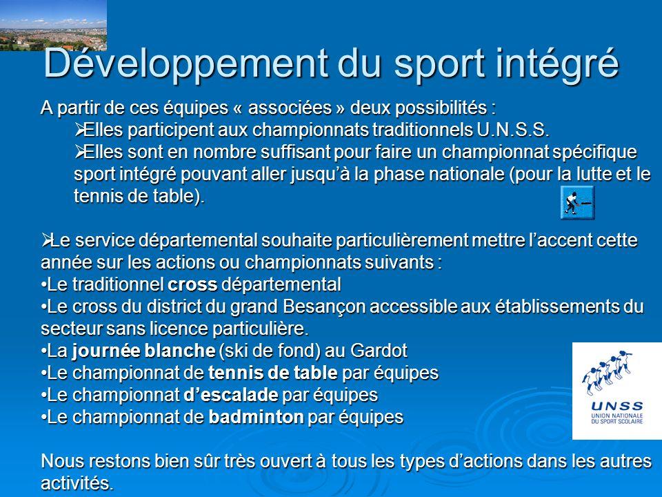 Développement du sport intégré Le service départemental U.N.S.S souhaite poursuivre et développer lintégration délèves en situation de handicap (tout