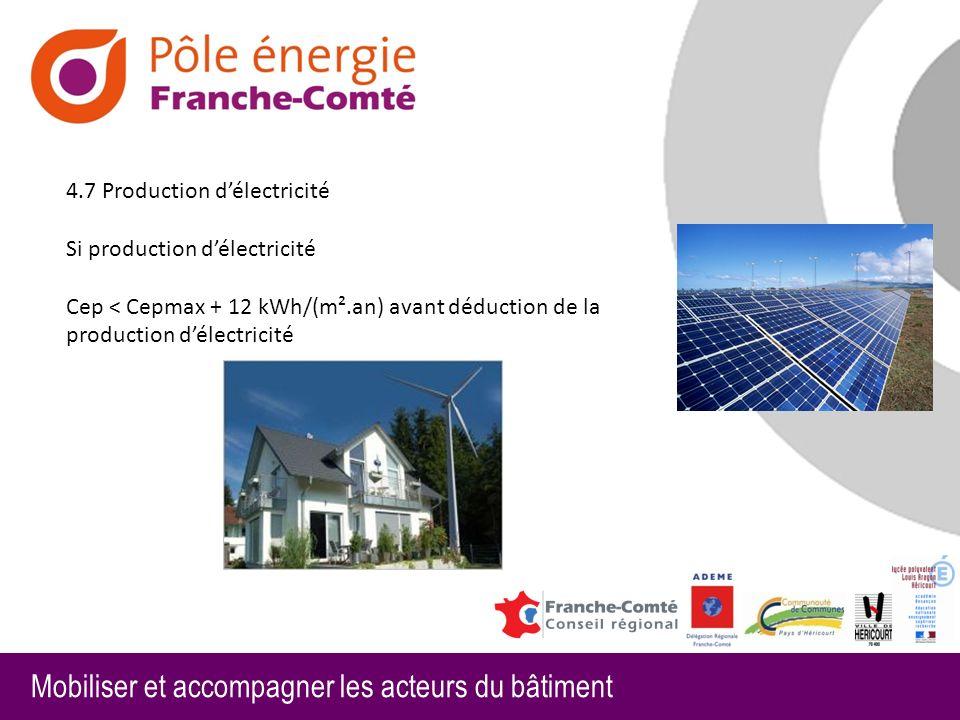 Mobiliser et accompagner les acteurs du bâtiment 4.7 Production délectricité Si production délectricité Cep < Cepmax + 12 kWh/(m².an) avant déduction de la production délectricité
