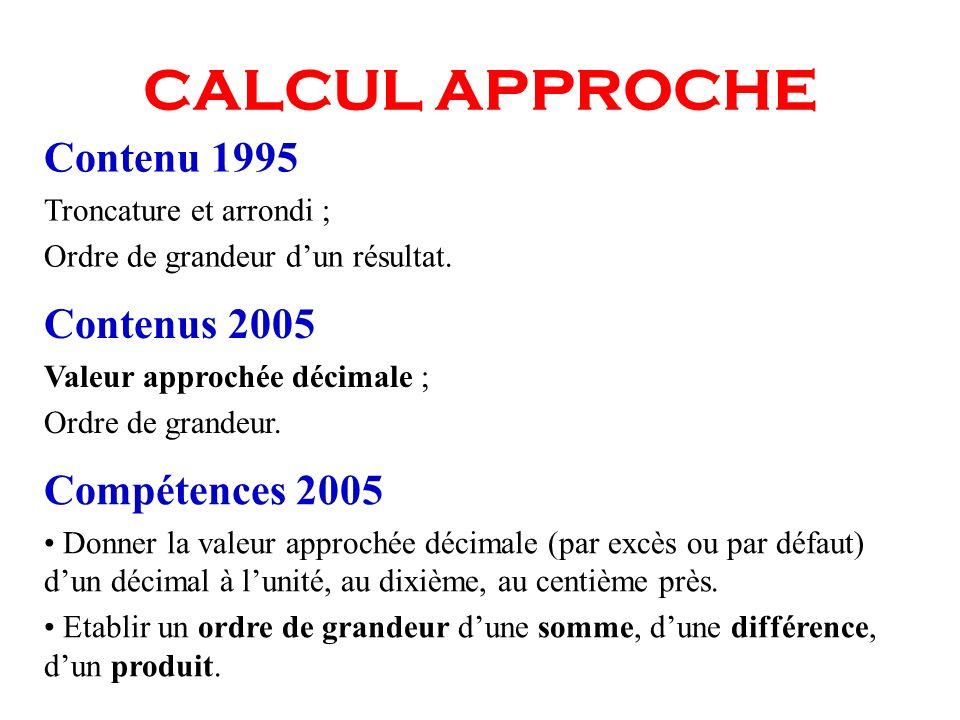 CALCUL APPROCHE Contenus 2005 Valeur approchée décimale ; Ordre de grandeur. Compétences 2005 Donner la valeur approchée décimale (par excès ou par dé