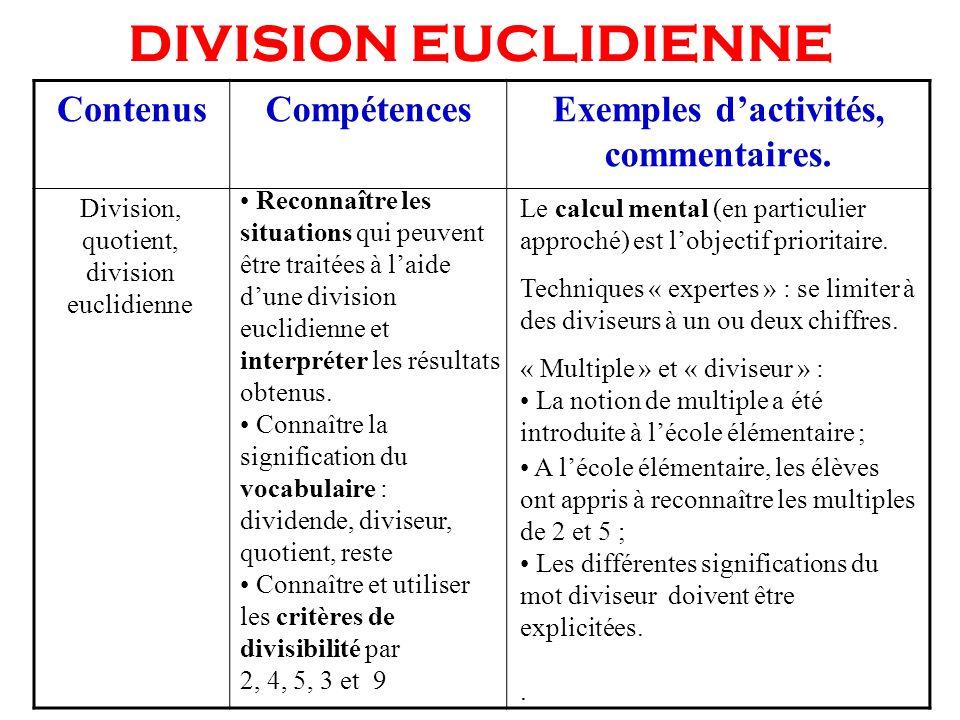 DIVISION EUCLIDIENNE Reconnaître les situations qui peuvent être traitées à laide dune division euclidienne et interpréter les résultats obtenus. Conn