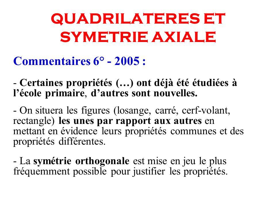 QUADRILATERES ET SYMETRIE AXIALE Commentaires 6° - 2005 : - Certaines propriétés (…) ont déjà été étudiées à lécole primaire, dautres sont nouvelles.