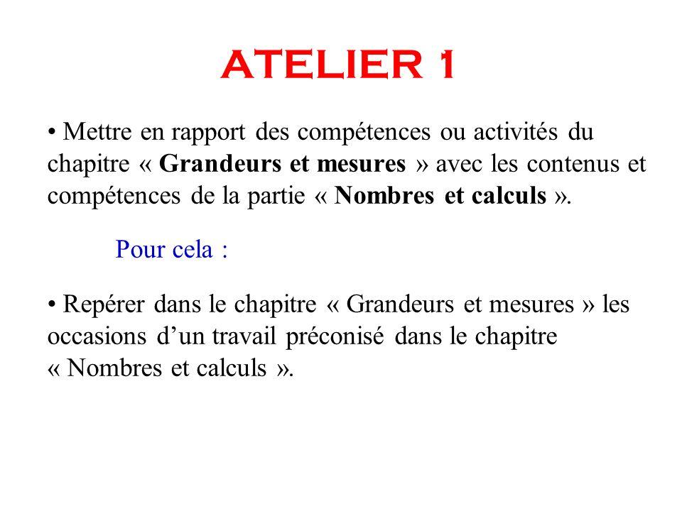 ATELIER 1 Mettre en rapport des compétences ou activités du chapitre « Grandeurs et mesures » avec les contenus et compétences de la partie « Nombres