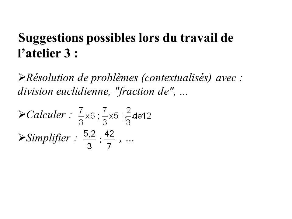 Suggestions possibles lors du travail de latelier 3 : Résolution de problèmes (contextualisés) avec : division euclidienne,