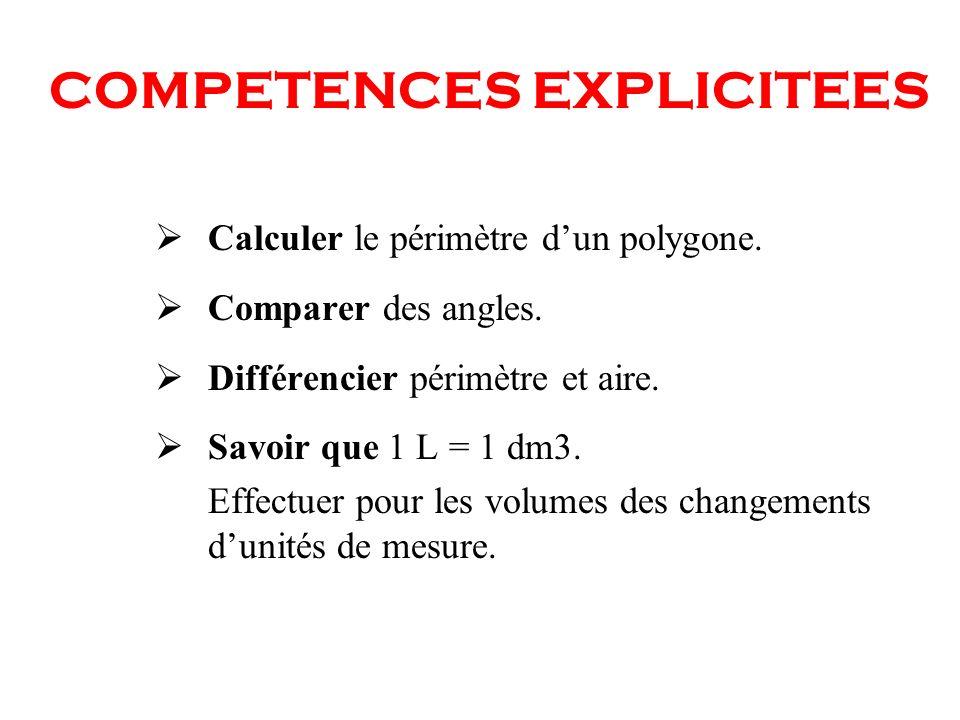 COMPETENCES EXPLICITEES Calculer le périmètre dun polygone. Comparer des angles. Différencier périmètre et aire. Savoir que 1 L = 1 dm3. Effectuer pou
